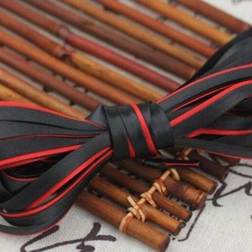 Biais satiné bicolore replié - polyester - noir et rouge  - 8.5 mm - vendu au mètre