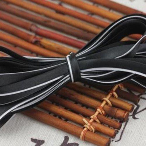 Biais satiné bicolore replié - polyester - noir et blanc - 8.5 mm - vendu au mètre