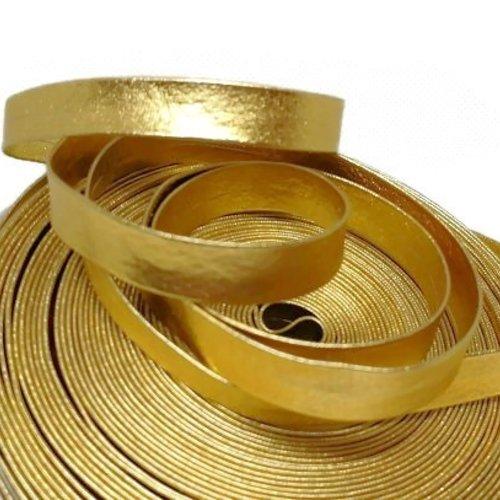 Biais simili cuir doré - 10 mm - vendu au mètre