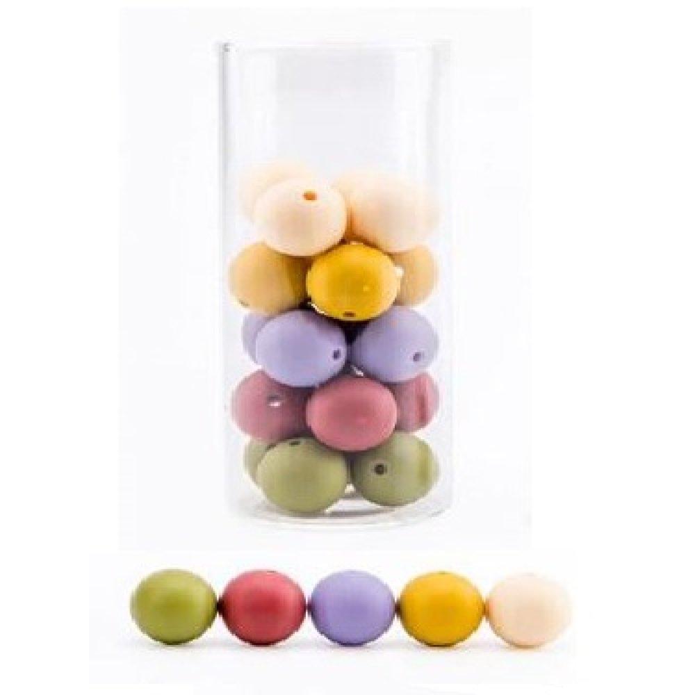 Lot de 10 perles en Silicones - 12 mm - Multicolores - Couleurs d'Automne