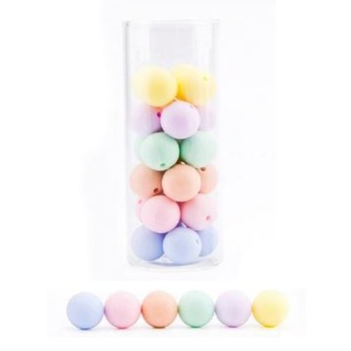 Lot de 10 perles en silicones - 12 mm - multicolores - couleurs pastel