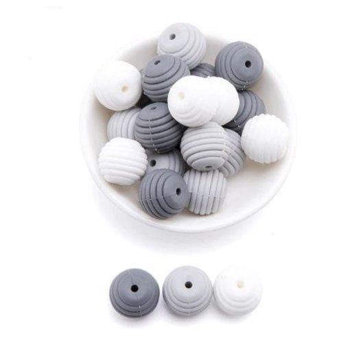 Lot de 3 perles filetées en silicones - 15 mm - tons gris