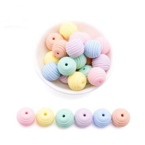 Lot de 6 perles filetées en silicones - 15 mm - couleur pastel