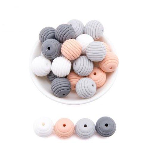 Lot de 4 perles filetées en silicones - 15 mm - tons gris - saumon