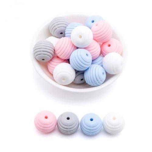 Lot de 4 perles filetées en silicones - 15 mm - tons rose - bleu - blanc - gris
