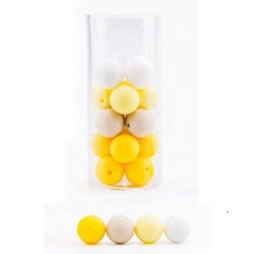 Lot de 10 perles en silicones - 12 mm - tons jaune - blanc - beige