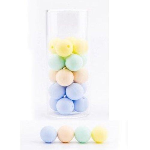 Lot de 10 perles en silicones - 12 mm - tons bleu - vert - jaune - beige