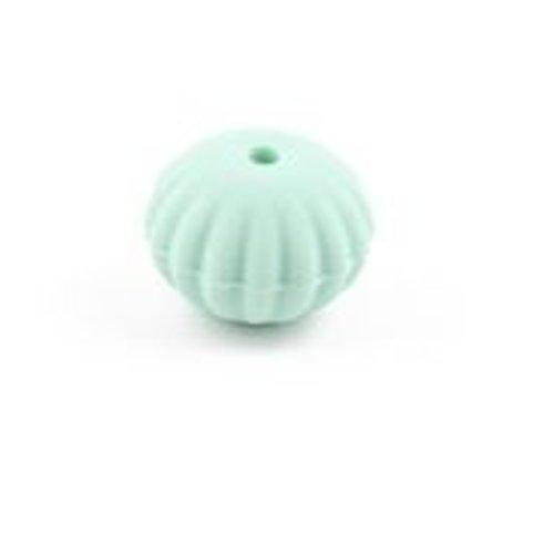 1 perle toupie fileté en silicone - 17 x 13 mm - vert menthe