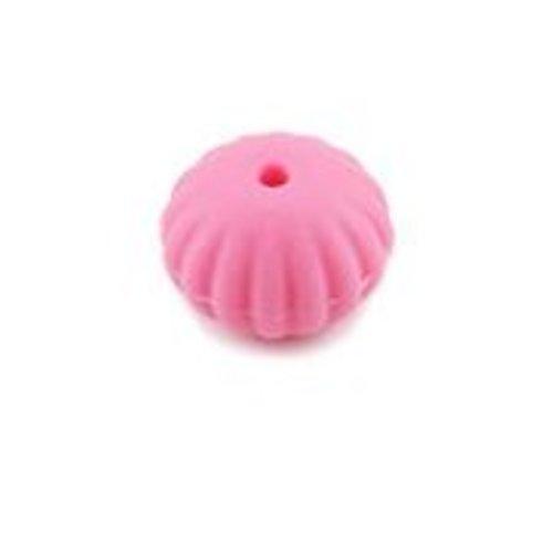 1 perle toupie fileté en silicone - 17 x 13 mm - fuchsia