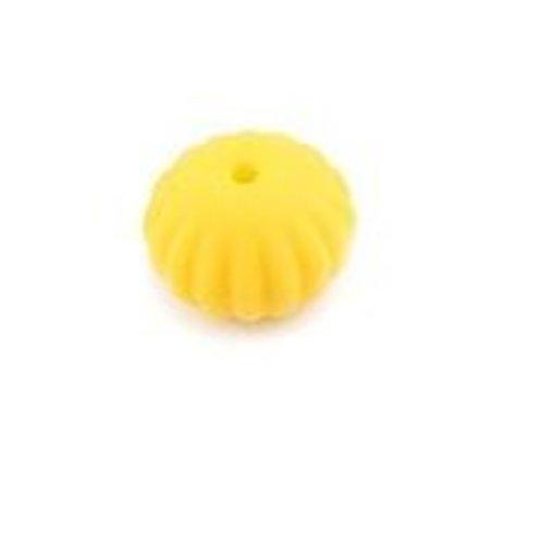 1 perle toupie fileté en silicone - 17 x 13 mm - jaune