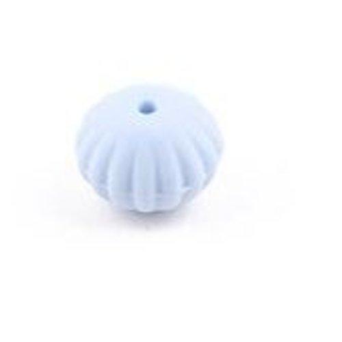 1 perle toupie fileté en silicone - 17 x 13 mm - bleu