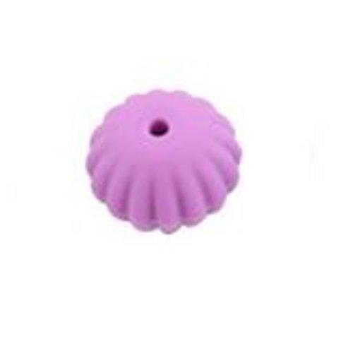 1 perle toupie fileté en silicone - 17 x 13 mm - violet