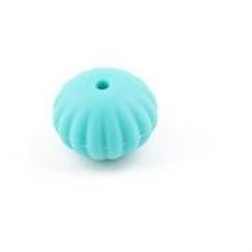 1 perle toupie fileté en silicone - 17 x 13 mm - turquoise