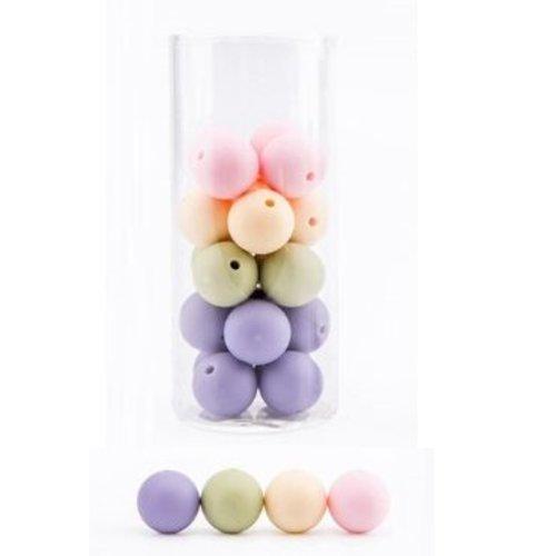 Lot de 10 perles en silicones - 12 mm - tons rose - beige - lilas - vert amande