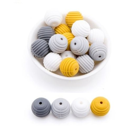 Lot de 4 perles filetées en silicones - 15 mm - tons gris - blanc - moutarde
