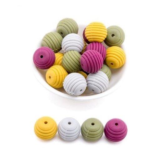 Lot de 4 perles filetées en silicones - 15 mm - tons moutarde - gris - bordeaux - kaki
