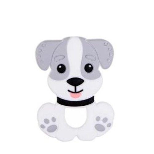 1 anneau de dentition - chien en silicone - gris