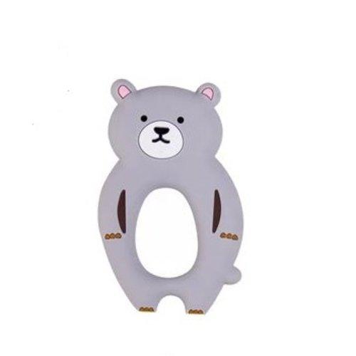 1 anneau de dentition - ours en silicone - gris