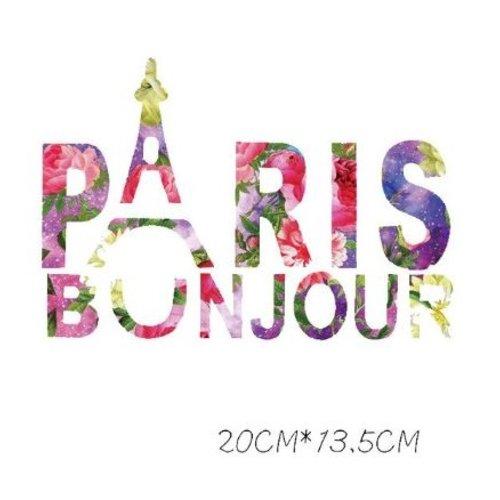 Transfert thermocollant - bonjour paris - 20 cm x 13.5 cm