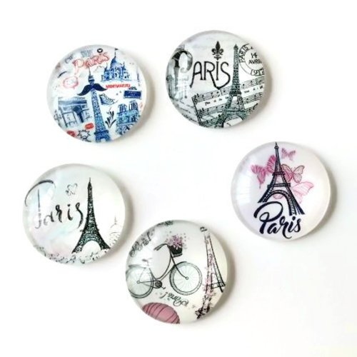 Lot de 5 cabochons en verre - 25 mm - paris - tour eiffel