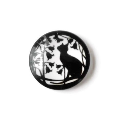 1 cabochon en verre - 25 mm - chat noir