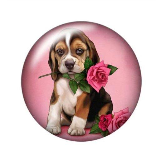 1 cabochon en verre - 25 mm - le chien et la rose