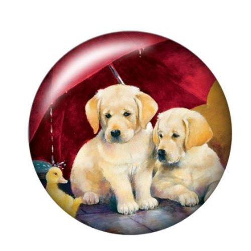 1 cabochon en verre - 25 mm - duo de chien