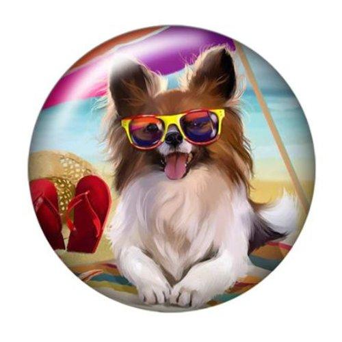 1 cabochon en verre - 25 mm - le chien au lunette