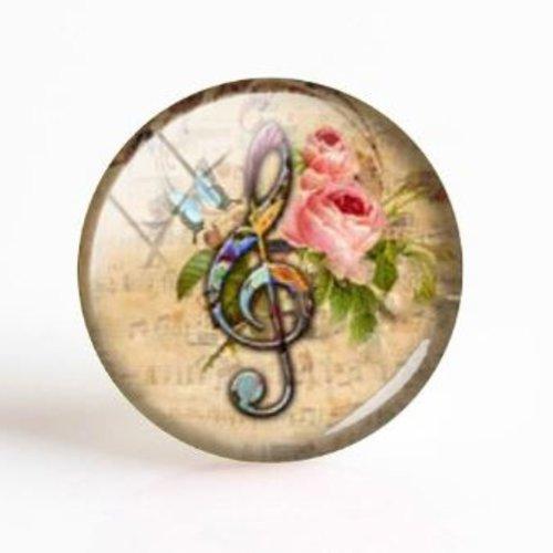 1 cabochon en verre - 25 mm - note de musique - rose