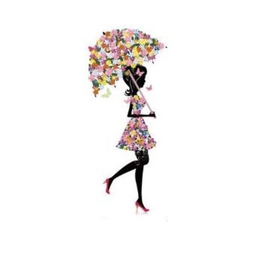 Transfert thermocollant - la demoiselle au parapluie 3.9 x 9.3 cm