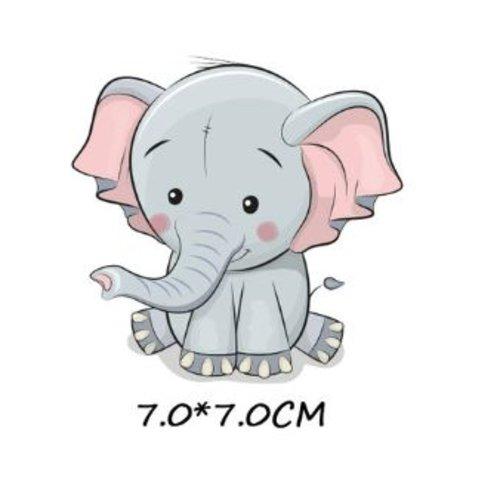 Transfert thermocollant - éléphant - 7 x 7 cm