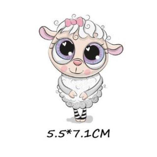Transfert thermocollant - mouton rigolo - 5.5 x 7.1 cm
