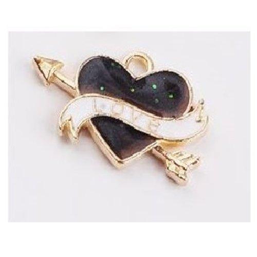 1 pendentif breloque - coeur - love - émaillé noir - dorée