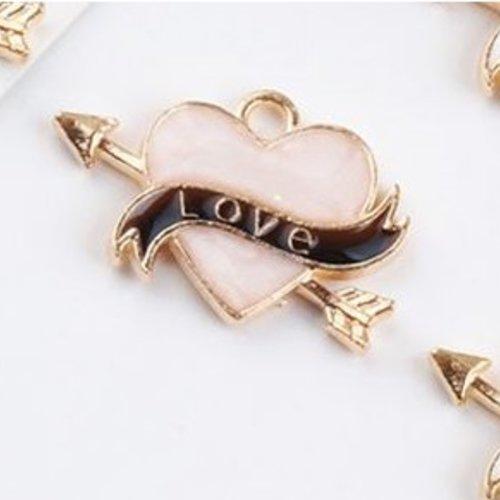 1 pendentif breloque - coeur - love - émaillé rose nacré - dorée