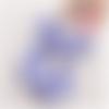 1 pendentif - breloque pompon - demi lune - a pois bleu