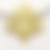 1 pendentif - plume de paon - filigrane - doré