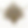 1 pendentif - plume de paon - filigrane - couleur bronze