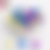 Lot de 10 perles en silicones - 12 mm - tons violet - jaune - bleu