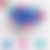 Lot de 10 perles en silicones - 12 mm - tons bleu - vert - rose foncé