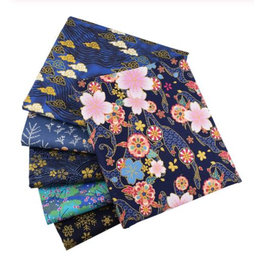 Lot de 6 coupons de tissu patchwork - assortiment de tissu floral de couleur bleu marine