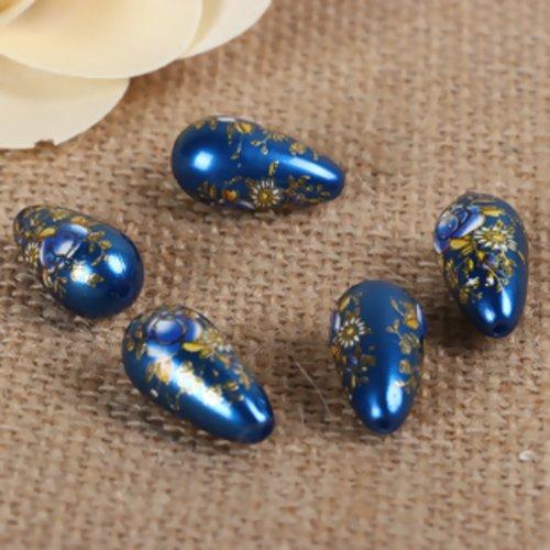 Perle goutte peinture japonaise - acrylique - bleue - p1512