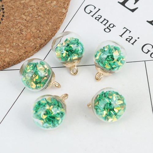 1 breloque globe bulle en verre - paillettes triangles vert - doré