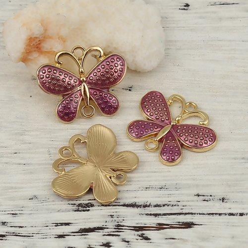 1 connecteur pendentif papillon prune- email  -  métal doré
