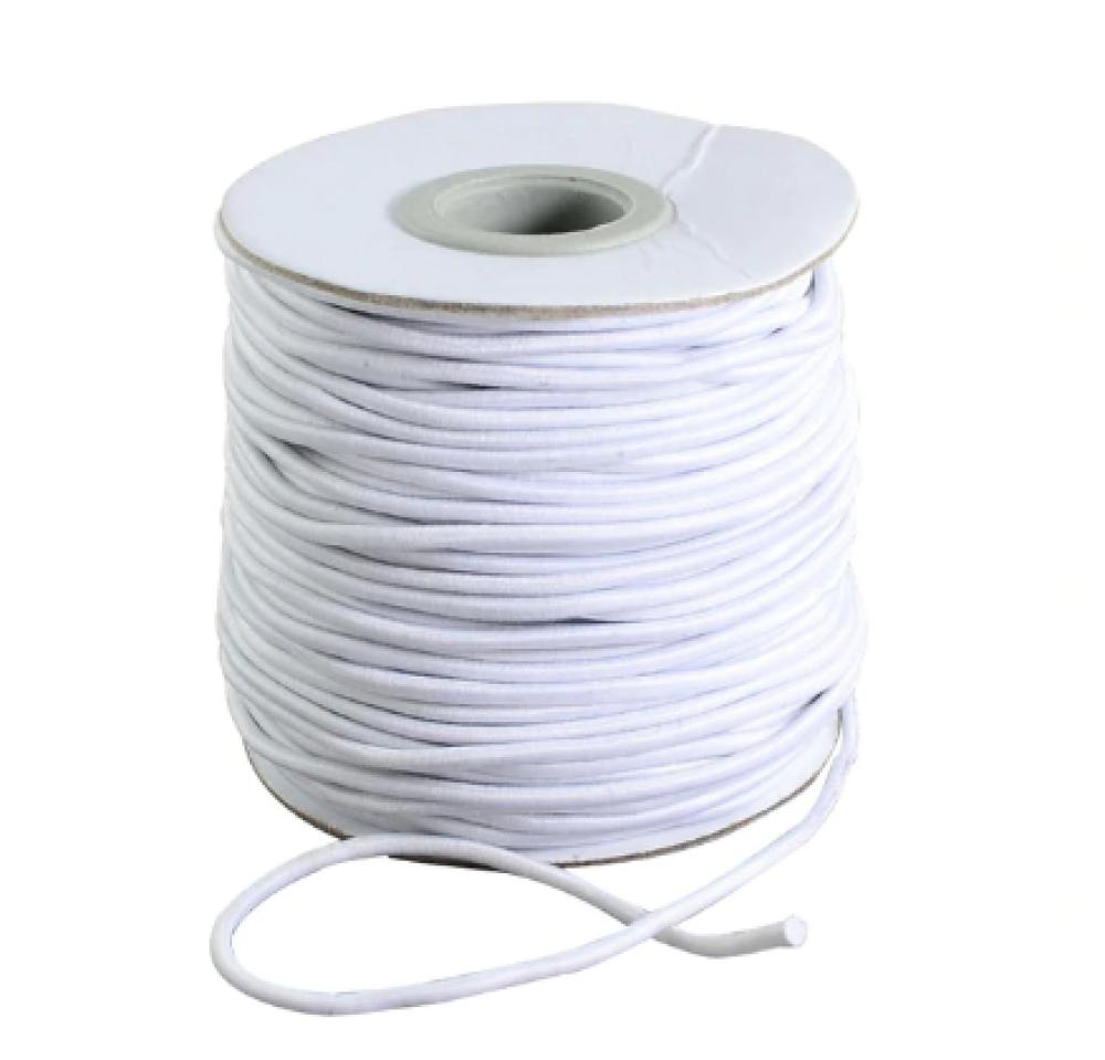 10 m d'élastique - Latex rond - 2.5 mm - Blanc - Idéal pour la confection de Masques