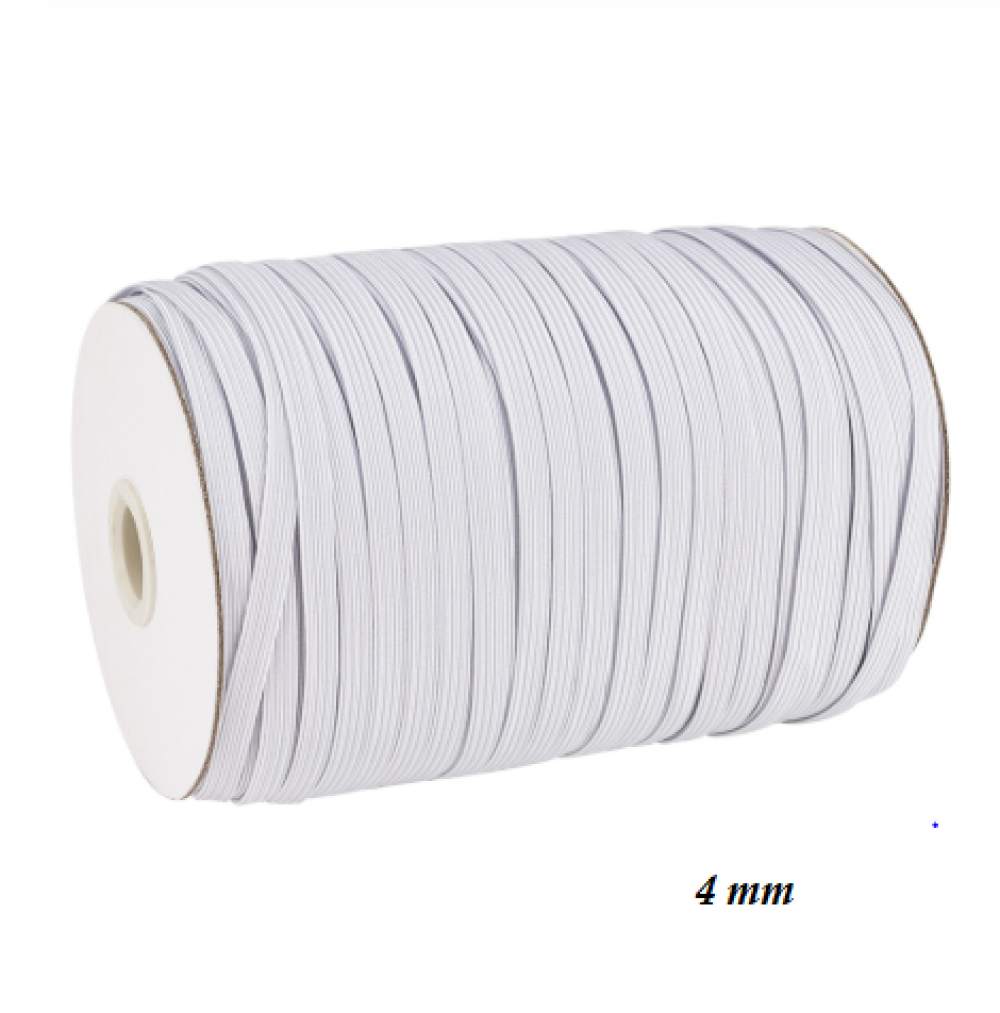 Ruban Elastique Plat - Blanc - 4 mm -