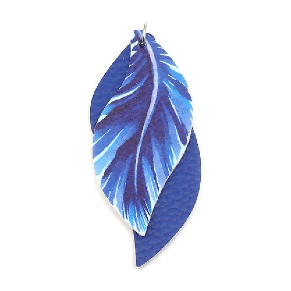 1 Pendentif Plume - Simili Cuir - Bleu Roi