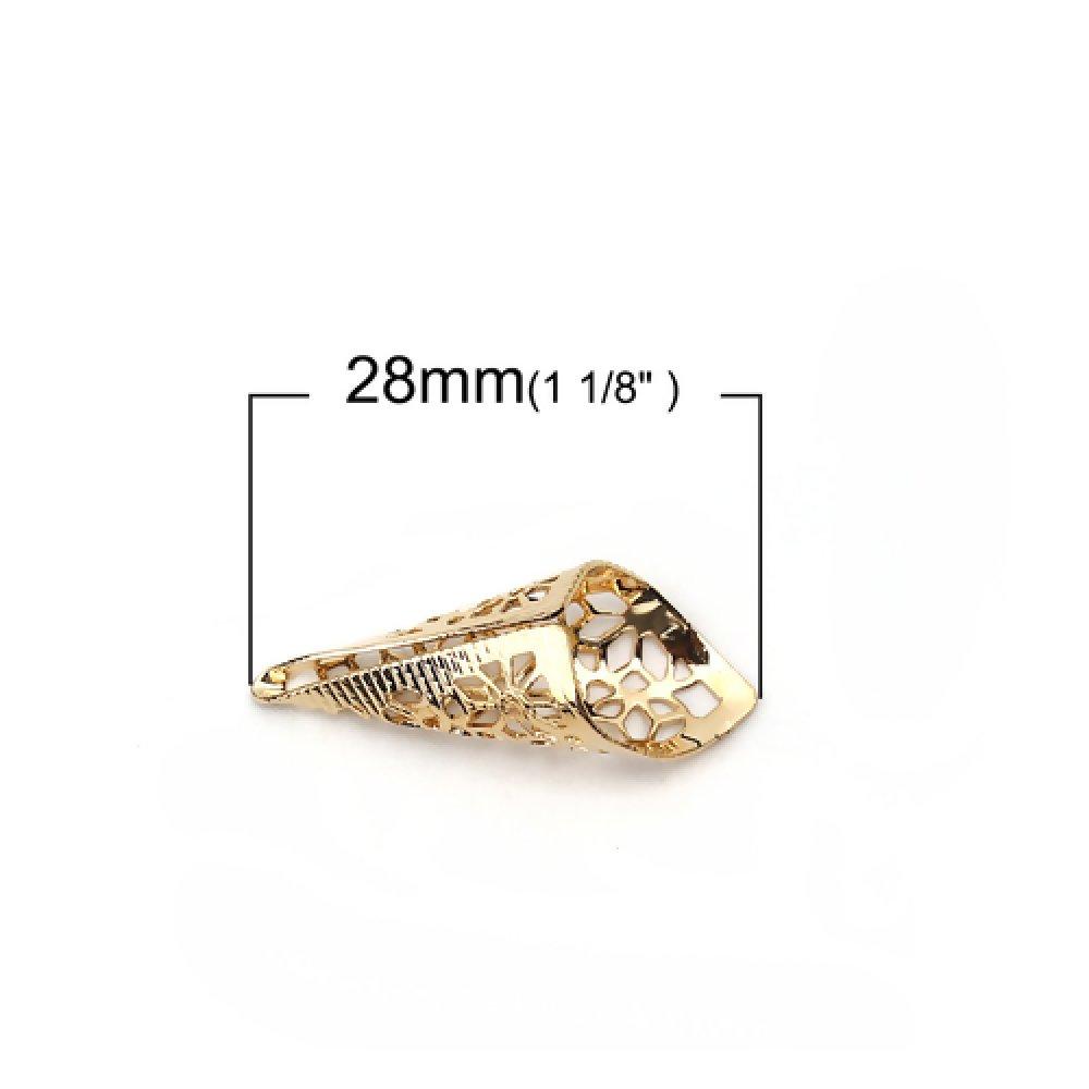 2 Perles coupelles Cône Forme Fleur - Couleur Dorée