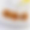 1 pendentif pompon fleurs - moutarde