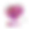 Lot de 10 perles en silicones - 12 mm - tons fuchsia - rouge - rose - violet - blanc - rose pâle