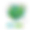 Lot de 10 perles en silicones - 12 mm - tons turquoise - vert - blanc